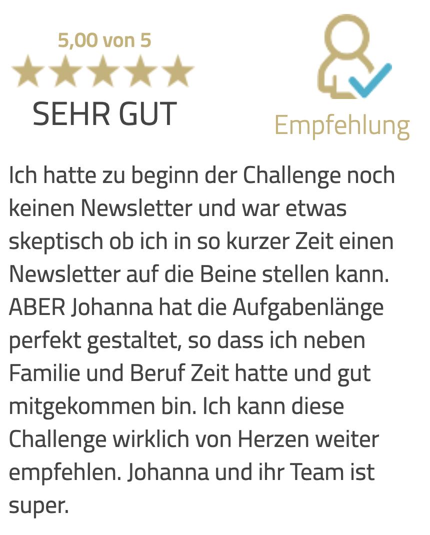 Newsletter Challenge Tesimonial